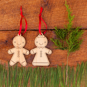 Gingerbread Wooden Christmas Ornaments (Set of 2)