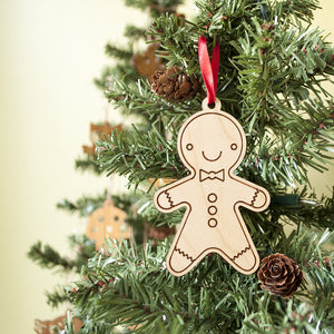 wooden gingerbread boy christmas ornament