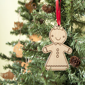 wooden gingerbread girl christmas ornament