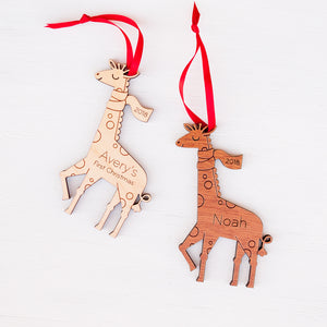 Handmade original safari giraffe Christmas ornament personalized in choice of wood & engraved by Graphic Spaces