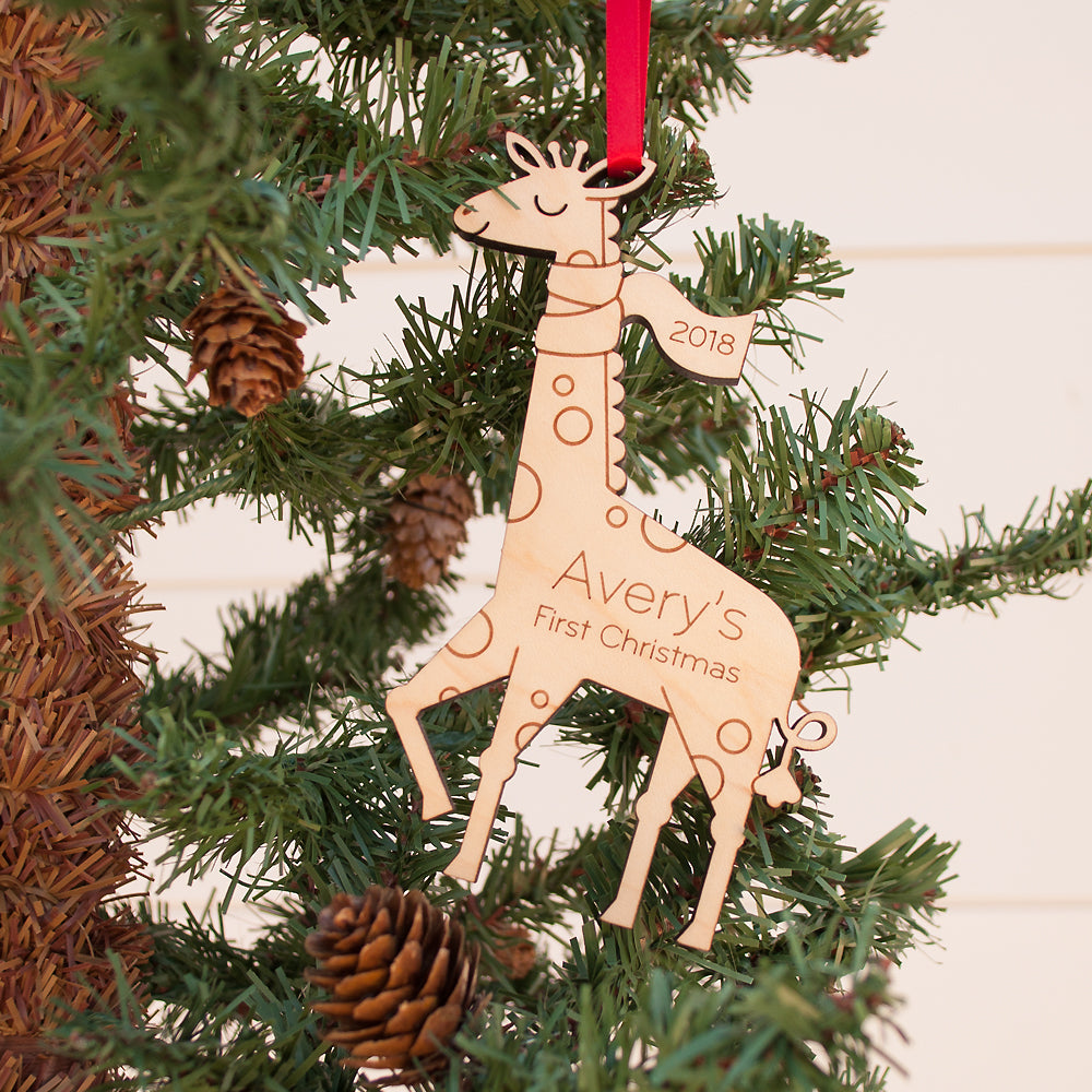 giraffe first christmas ornament personalized