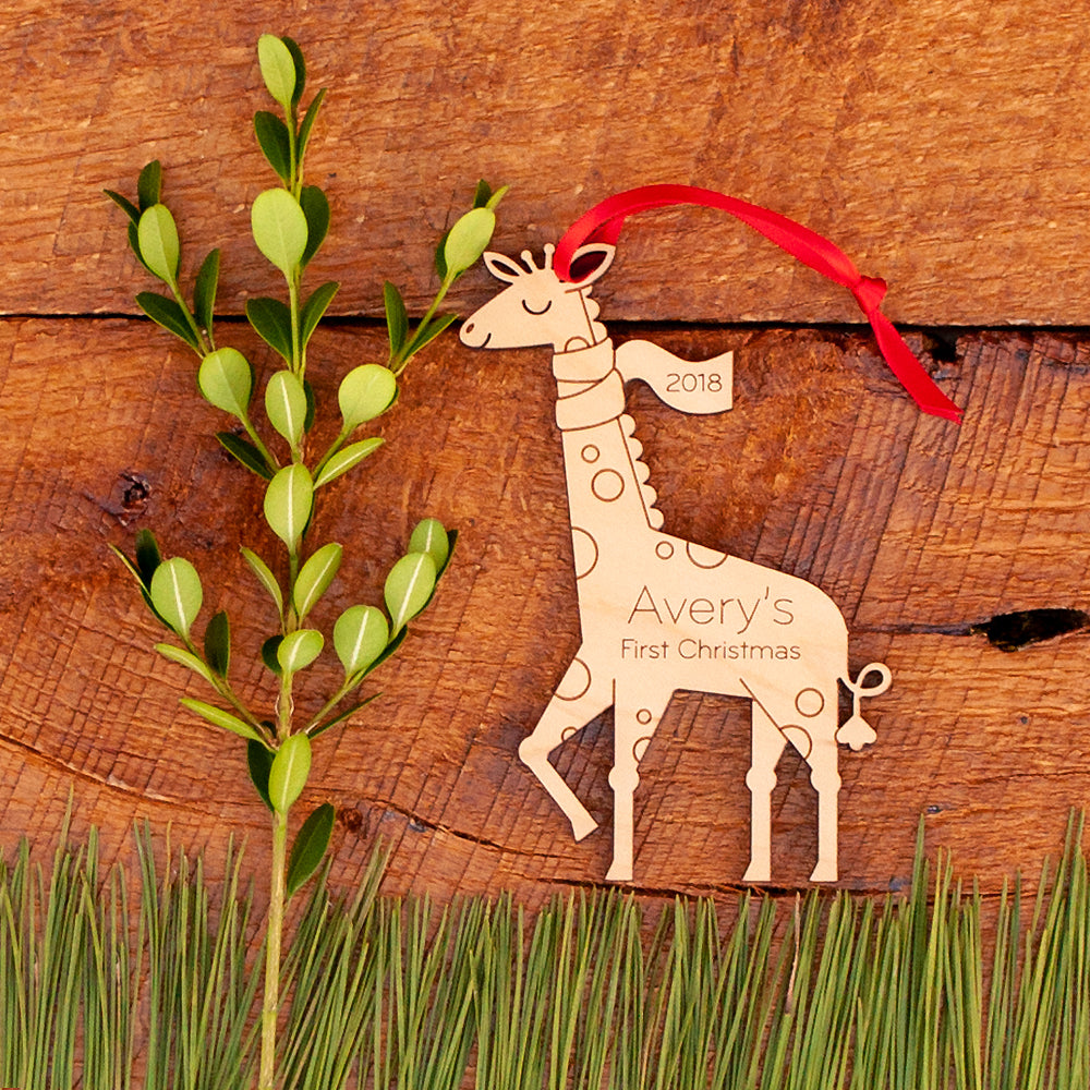 wood giraffe first christmas ornament personalized