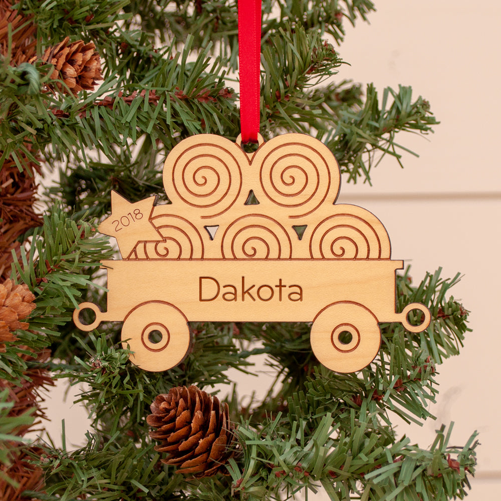 tractor hay wagon christmas ornament personalized