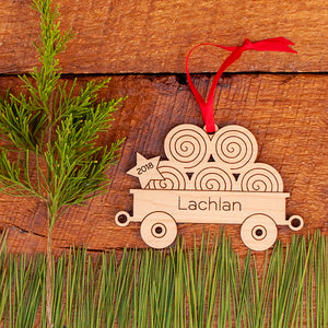 Handmade original tractor hay wagon Christmas ornament personalized & engraved in maple wood by Graphic Spaces