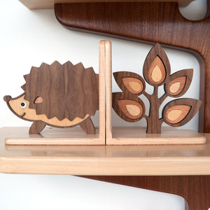 Sapling Tree Branch & Hedgehog Wooden Bookend for woodland animal nursery decor handmade by Graphic Spaces