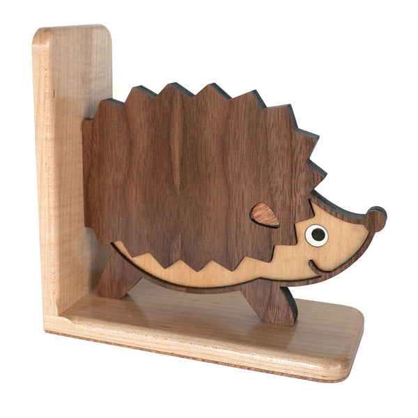 Hedgehog Wooden Bookend for woodland animal nursery decor handmade by Graphic Spaces
