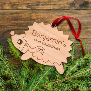 Handmade original woodland hedgehog Christmas ornament personalized in choice of wood & engraved by Graphic Spaces