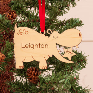 hippo christmas ornament personalized