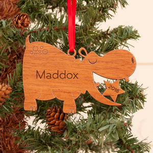 Hippo Wooden Christmas Ornament