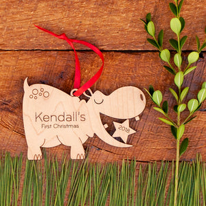 Handmade original safari hippo Christmas ornament personalized in choice of wood & engraved by Graphic Spaces
