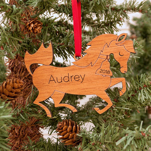 Handmade original horse pony Christmas ornament personalized in choice of wood & engraved by Graphic Spaces