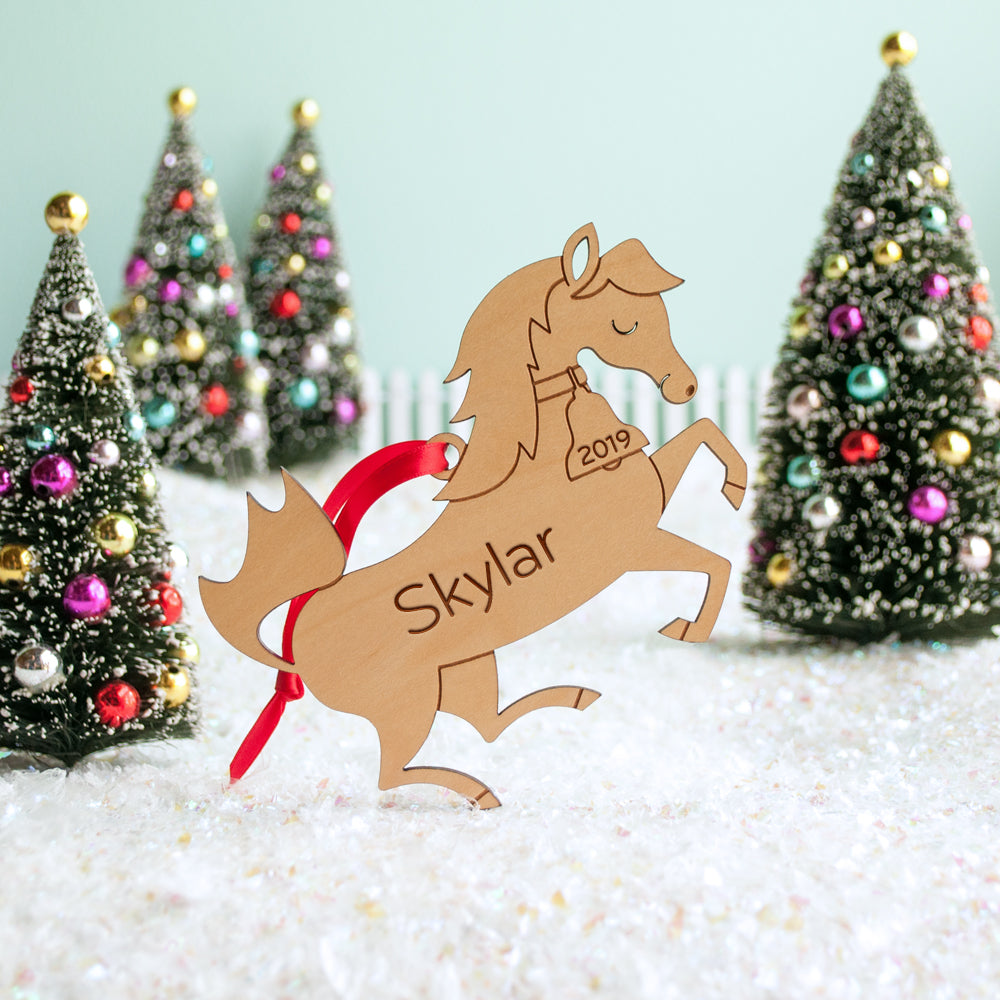 wooden horse christmas ornament personalized