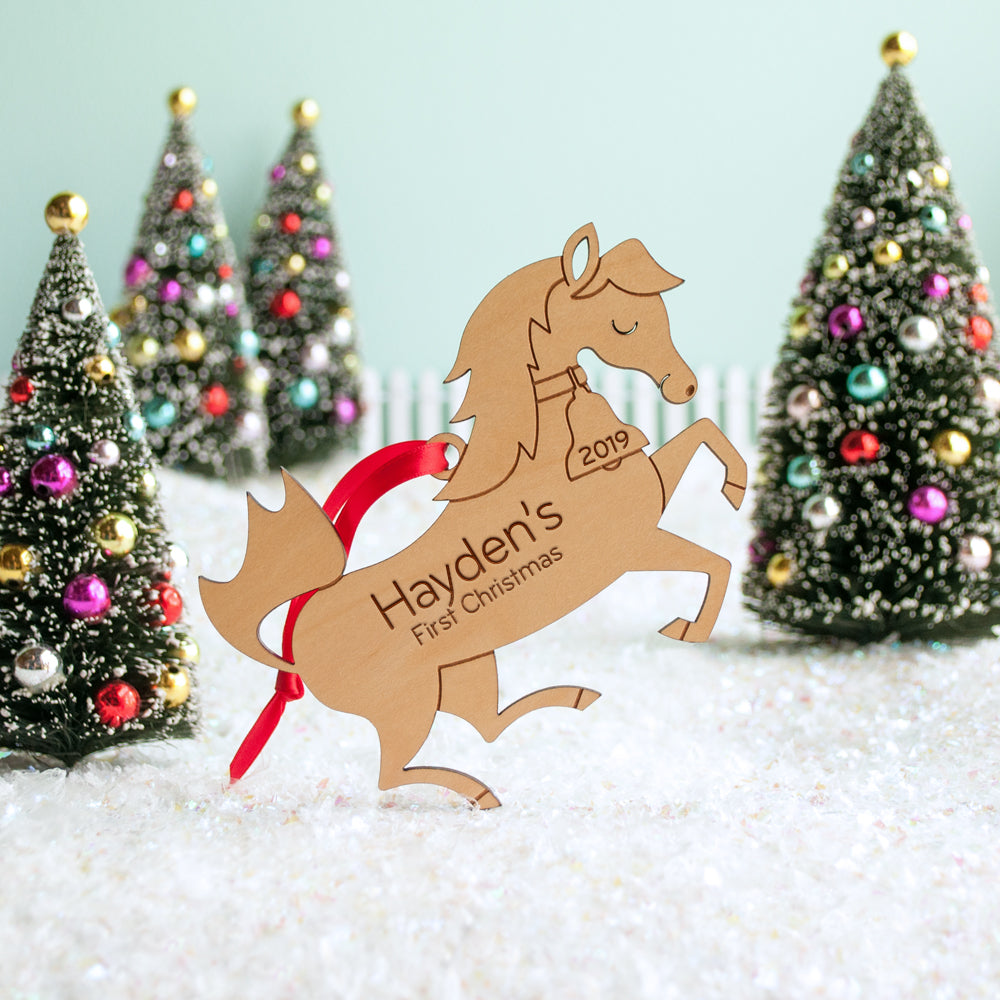 Christmas Horse Pictures.Horse Wooden Christmas Ornament