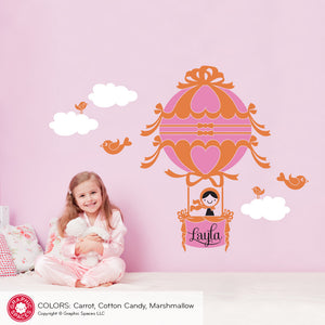 Hot Air Balloon Girl Wall Decal