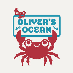 Ocean King Crab Room Sign Wall Decal with Name