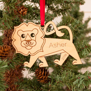 Handmade original safari lion Christmas ornament personalized in choice of wood & engraved by Graphic Spaces