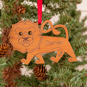 Lion Wooden Christmas Ornament