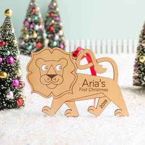 lion first christmas ornament personalized