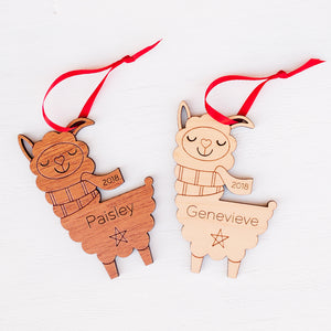 Handmade original llama Christmas ornament personalized in choice of wood & engraved by Graphic Spaces