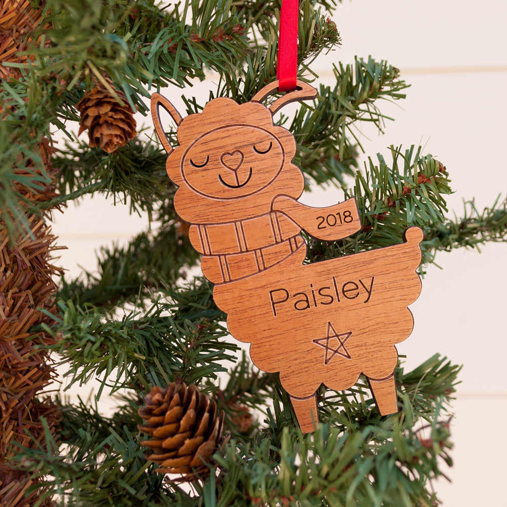llama christmas ornament personalized farm animal