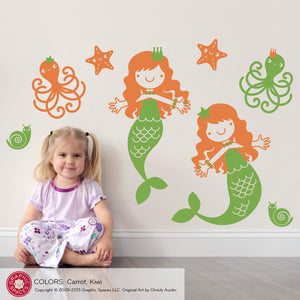 Mermaid Wall Decals, Medium Twin Pack