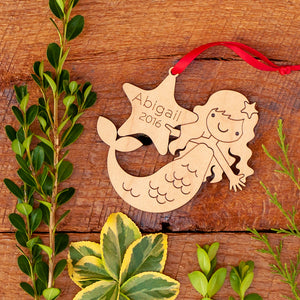 Handmade original ocean mermaid Christmas ornament personalized in choice of wood & engraved by Graphic Spaces