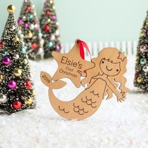 mermaid christmas ornament personalized