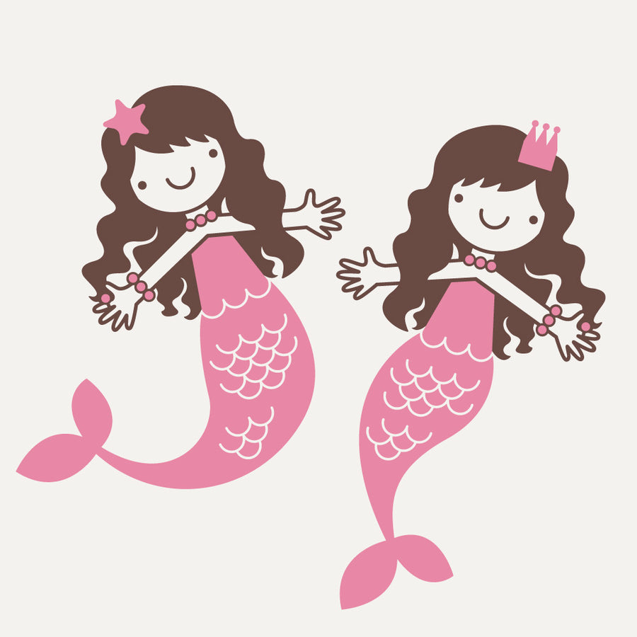 Mermaid Wall Decals, Small Twin Pack