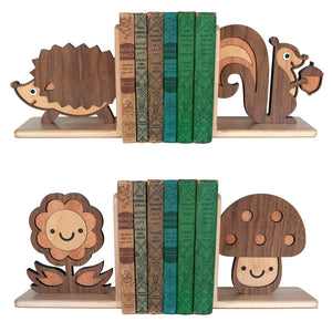 Wooden Bookends, Hedgehog, Squirrel, Mushroom & Flower for woodland animal nursery decor handmade by Graphic Spaces