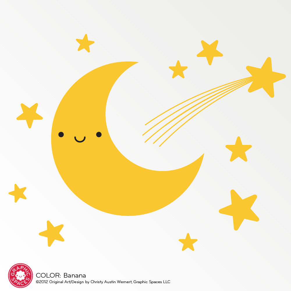 Happy Moon & Stars Wall Decal - Graphic Spaces