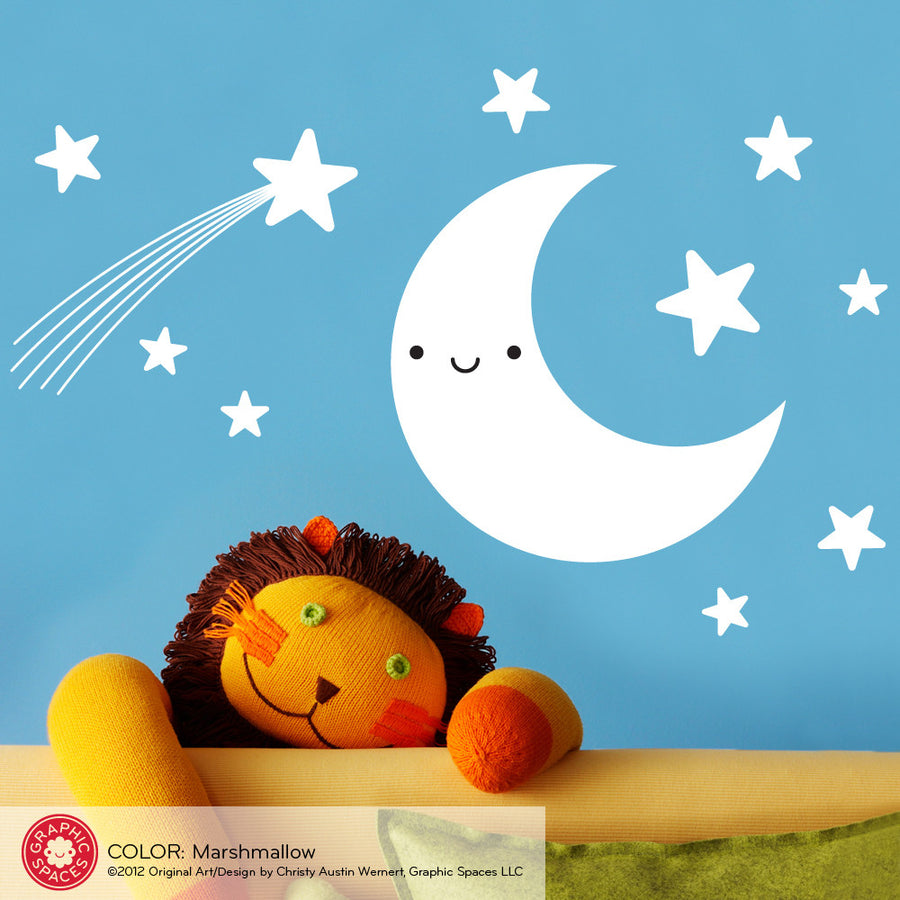 Happy Moon & Stars Wall Decal