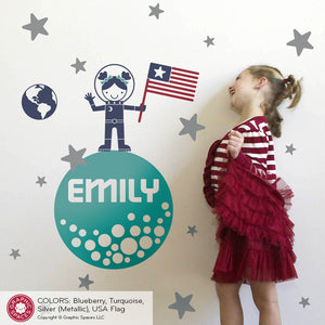 Moon Walk Outer Space Girl Wall Decal