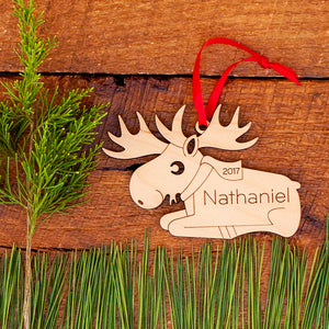 Handmade original woodland moose Christmas ornament personalized in choice of wood & engraved by Graphic Spaces