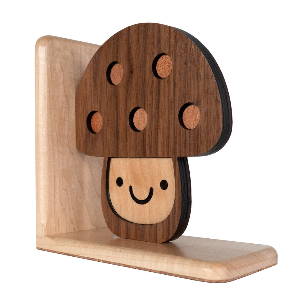 Mushroom Wooden Bookend for woodland animal nursery decor handmade by Graphic Spaces