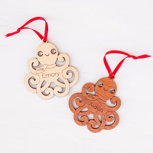 Handmade original ocean octopus Christmas ornament personalized in choice of wood & engraved by Graphic Spaces