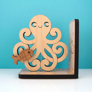 Octopus Wooden Bookend
