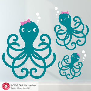 Octopus Family Wall Decal