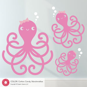 Happy Octopus Family Wall Decal