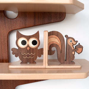 Owl & Squirrel Wooden Bookends for woodland animal nursery decor handmade by Graphic Spaces