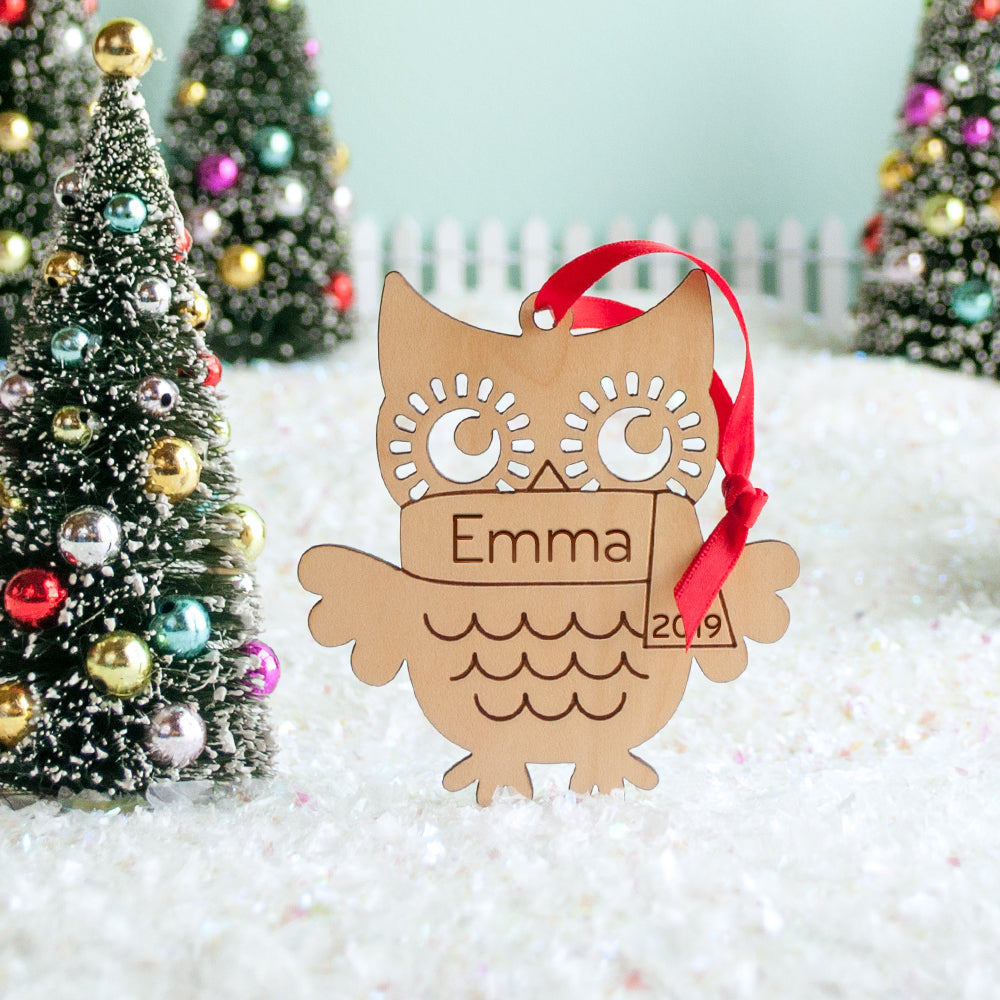 owl christmas ornament personalized woodland animal