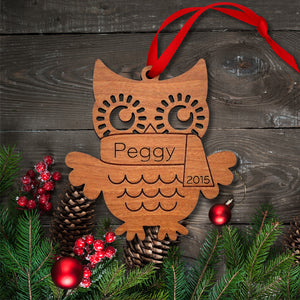 woodland owl christmas ornament personalized