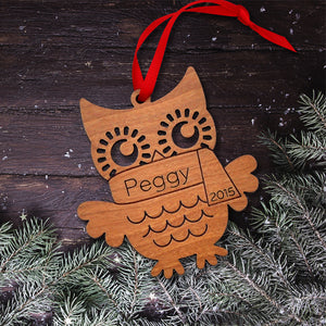 Handmade original woodland owl Christmas ornament personalized in choice of wood & engraved by Graphic Spaces