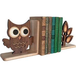 Sapling Tree Branch & Owl Wooden Bookend for woodland animal nursery decor handmade by Graphic Spaces