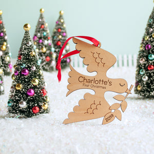 Dove Wooden Christmas Ornament