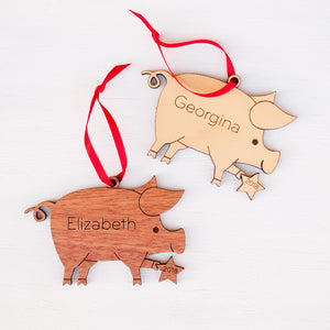 Pig Wooden Christmas Ornament