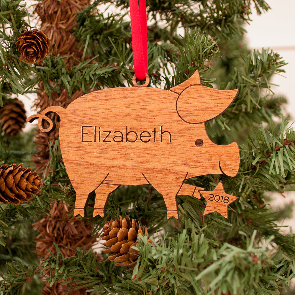 pig christmas ornament personalized farm animal