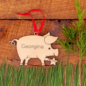 Handmade original farm pig Christmas ornament personalized in choice of wood & engraved by Graphic Spaces