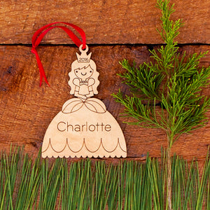 Handmade original fairy tale princess Christmas ornament personalized in choice of wood & engraved by Graphic Spaces