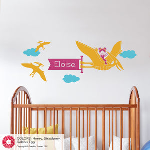 Pterodactyl Girl Dinosaur Banner Wall Decal