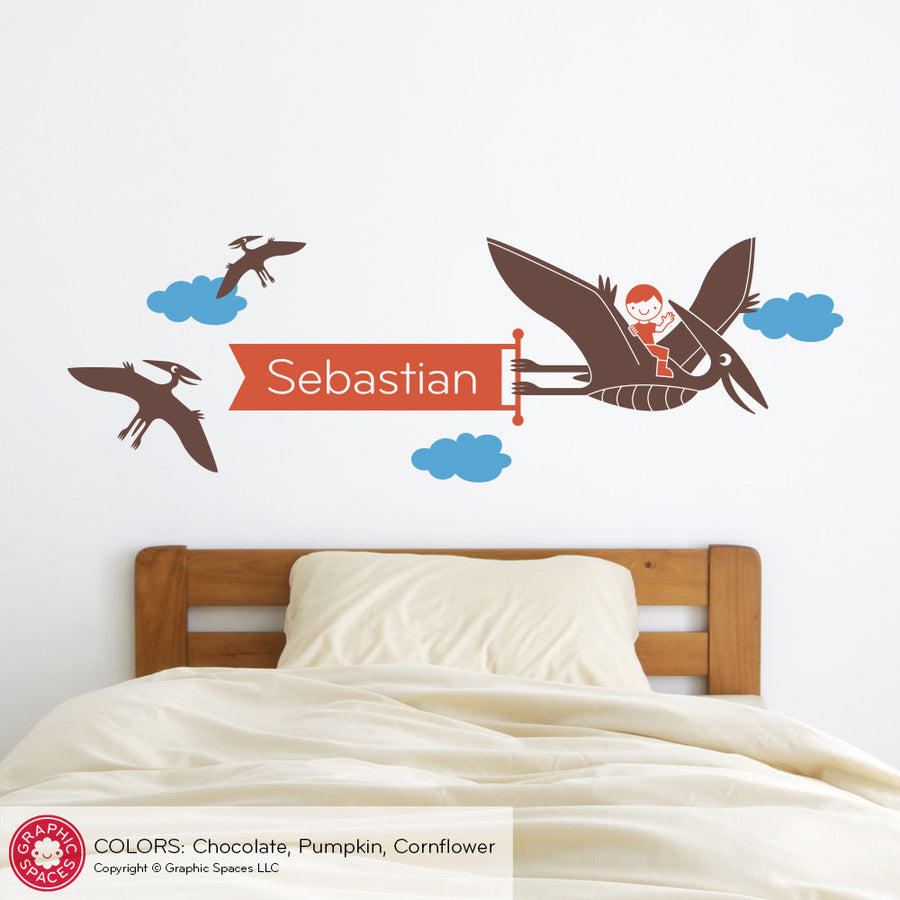 Dinosaur Wall Decal, Pterodactyl Banner with Name